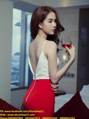 Đầm Ngọc Trinh ôm body kiểu hai dây thiết kế hở lưng sexy - DN145
