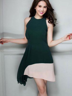 Đầm xòe thiết kế lệch tà phối màu trẻ trung - DN148