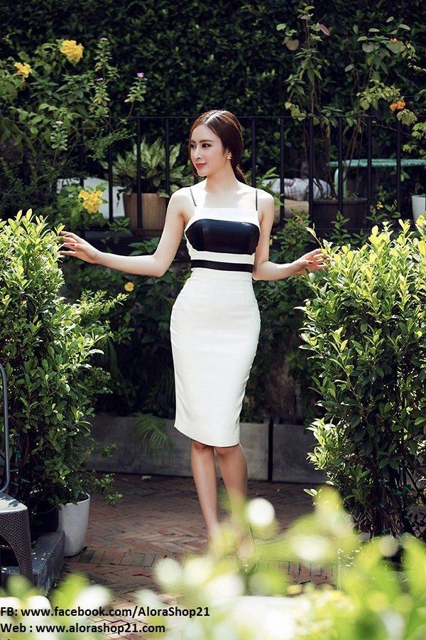 Váy ôm trắng phối đen sành điệu cá tính như Phương Trinh – DN163