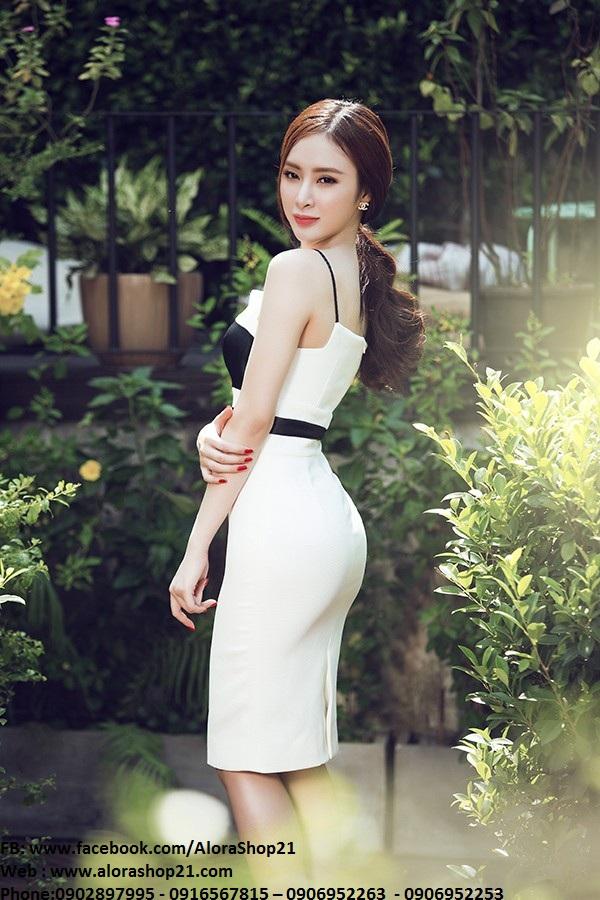 Váy ôm trắng phối đen sành điệu cá tính như Phương Trinh - DN163