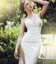 Váy ôm trắng xẻ đùi cao hở lưng sexy như Phương Trinh - DN164