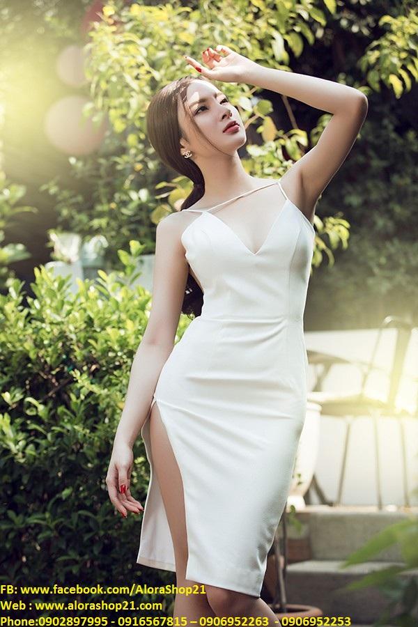 Váy ôm trắng xẻ đùi cao hở lưng sexy như Phương Trinh – DN164