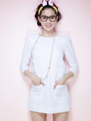 Đầm suông tay dài 2 túi Ngọc Trinh dễ thương - DN166