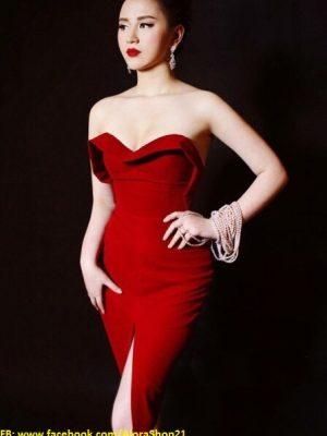 Đầm đỏ cúp ngực ôm body thiết kế xẻ tà trước sexy - DN171