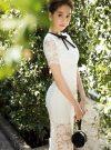 Đầm ren trắng phối nơ đen nhẹ nhàng sang trọng như Ngọc Trinh – DN172