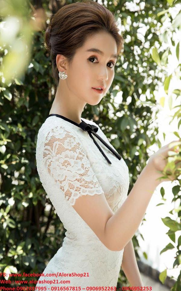 Đầm ren trắng phối nơ đen nhẹ nhàng sang trọng như Ngọc Trinh - DN172