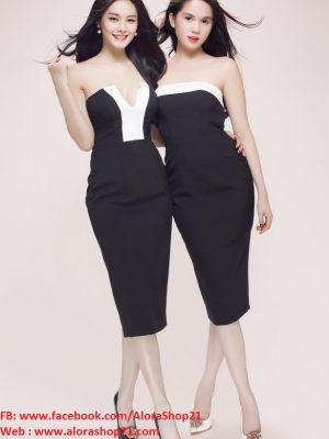 Đầm body cúp ngực thiết kế viền trắng tự tin khoe dáng - DN179