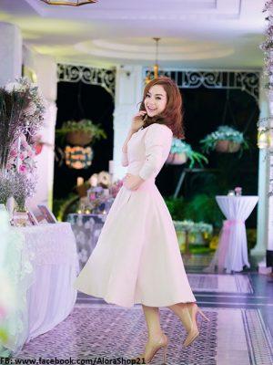 Đầm xòe tay dài dễ thương xinh xắn như Minh Hằng - DN181