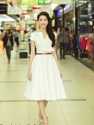 Váy xòe trắng dự tiệc xinh xắn dịu dàng như Hoa hậu Thu Thảo - DN182