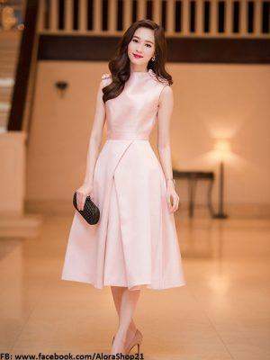 Đầm xòe màu hồng đẹp yêu kiều như Thu Thảo - DN183