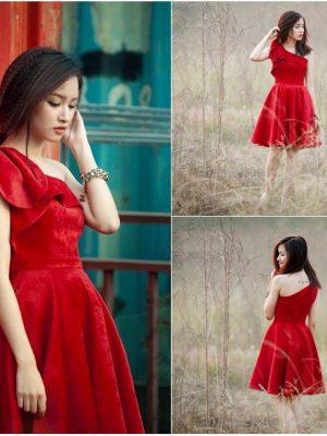 Đầm xòe dự tiệc lệch vai vải nhung đỏ sang trọng - DN184