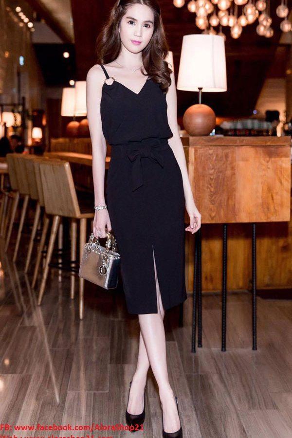Áo váy Ngọc Trinh kiểu áo 2 dây thiết kế cột nơ xinh xắn – DN188