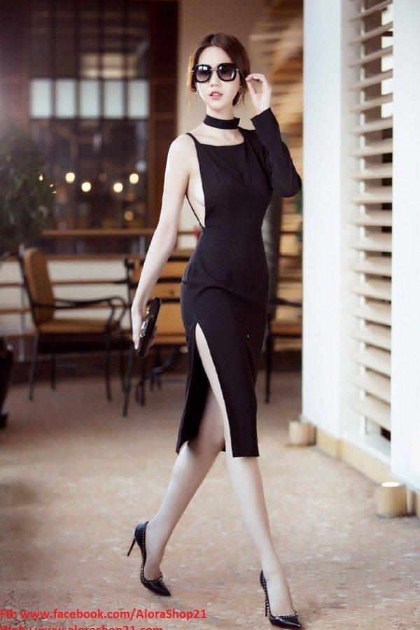 Váy hở lưng Ngọc Trinh thiết kế ôm body thật phong cách – DN204