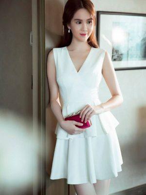 Đầm xòe hai tầng màu trắng xinh như Ngọc Trinh - DN207