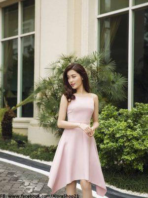 Đầm xòe 2 dây hồng dự tiệc xinh đẹp duyên dáng - DN215