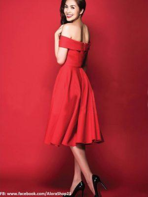 Đầm xòe vintage đỏ trễ vai đẹp như Tăng Thanh Hà - DN216