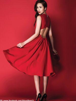 Đầm xòe vintage xếp ly đẹp như Tăng Thanh Hà - DN217