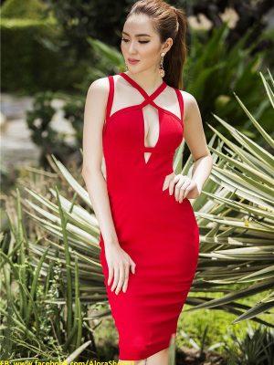 Váy ôm body đỏ đẹp thiết kế khoét ngực cực tôn dáng - DN220