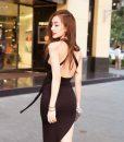 Đầm ôm đen thiết kế xẻ đùi cao quyến rũ thắt eo xinh đẹp – DN221