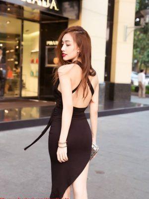 Đầm ôm đen thiết kế xẻ đùi cao quyến rũ thắt eo xinh đẹp - DN221