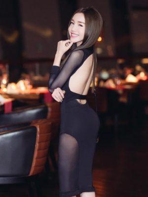 Váy đen hở lưng đẹp thiết kế ôm sát body pha lưới sexy - DN222