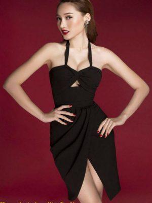 Đầm body đen cúp ngực cổ yếm xẻ giữa sexy - DN224