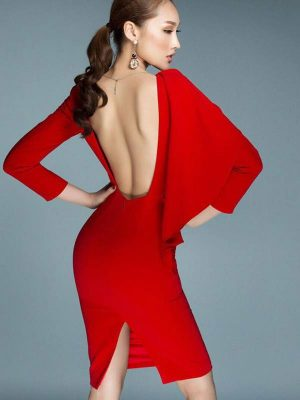 Đầm body tay cánh dơi hở lưng xẻ sau tôn dáng - DN226