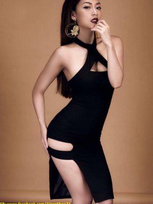 Váy ôm body màu đen thiết kế xẻ hông cực tôn dáng - DN227