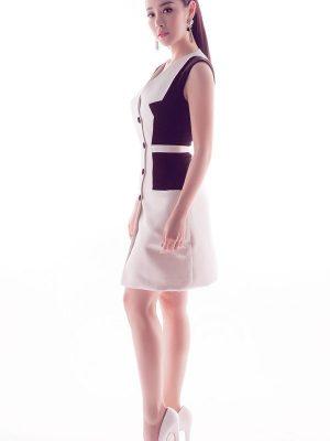 Đầm vest trắng đen trang nhã sang trọng - DN229