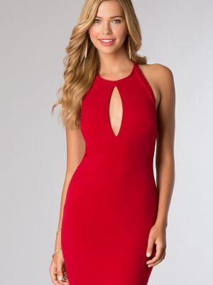 Đầm ôm đỏ hở lưng cổ giọt nước sexy sành điệu - DN23