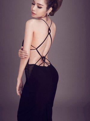 Váy ôm body hở lưng đen sexy sang trọng - DN232
