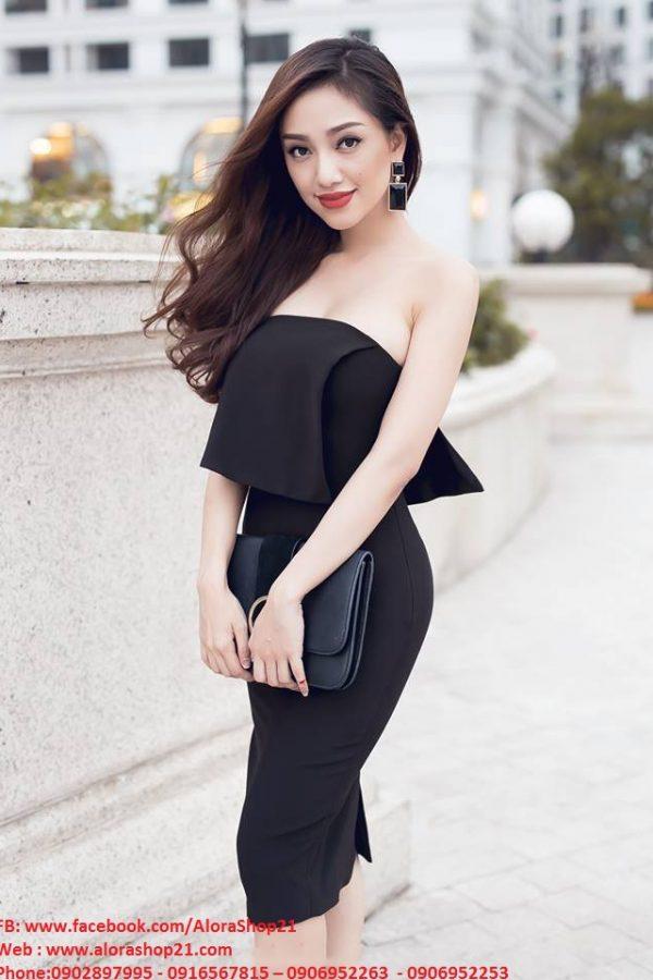 Váy cúp ngực màu đen thiết kế ôm body dài ngang gối – DN233