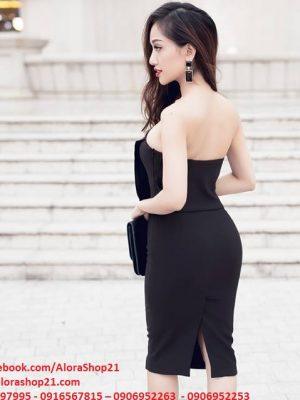 Váy cúp ngực màu đen thiết kế ôm body dài ngang gối - DN233