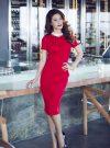 Đầm body đỏ viền cổ trắng sang trọng như Diễm My - DN235