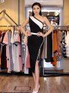 Đầm body trắng đen lệch vai xẻ đùi phối chân ren - DN236