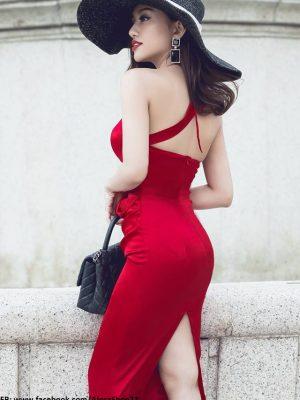 Đầm dự tiệc hở eo lưng cổ khoét gợi cảm dáng tiểu thư - DN239