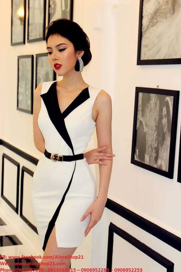 Váy ôm body trắng thiết kế giả vest hiện đại tinh tế – DN241