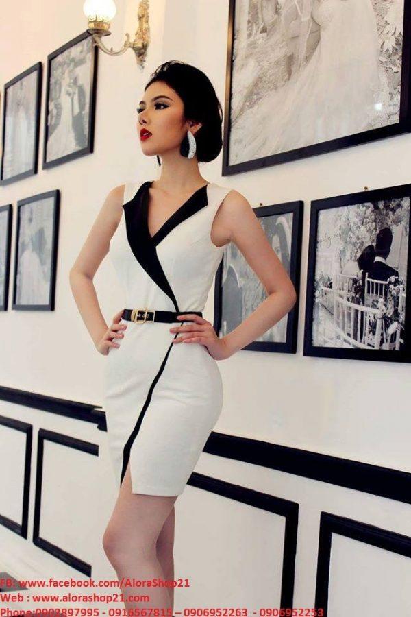 Váy ôm body trắng thiết kế giả vest hiện đại tinh tế - DN241