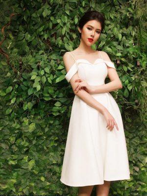 Đầm xòe dự tiệc trắng 2 dây phối bẹt vai sành điệu - DN244