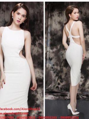 Đầm body trắng sexy khoét eo sexy quyến rũ - DN25