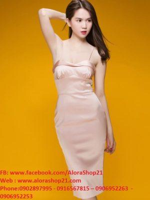 Đầm body phi bóng 2 dây cúp ngực quyến rũ - DN237