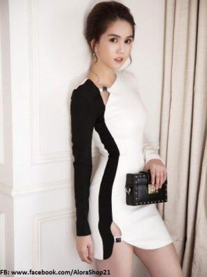 Đầm ôm trắng phối đen tay dài khoét đùi sexy - DN27