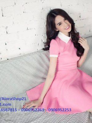 Đầm xòe hồng tay con thiết kế cổ sen dễ thương như Ngọc Trinh - DN288