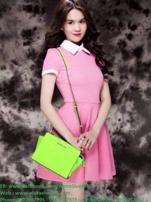 Đầm xòe hồng tay con thiết kế cổ sen dễ thương như Ngọc Trinh - DN288Đầm xòe hồng tay con thiết kế cổ sen dễ thương như Ngọc Trinh - DN288
