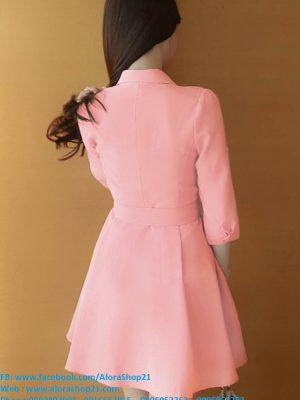 Đầm công sở tay lỡ cổ sơ mi thắt nơ eo xinh xắn - DN303