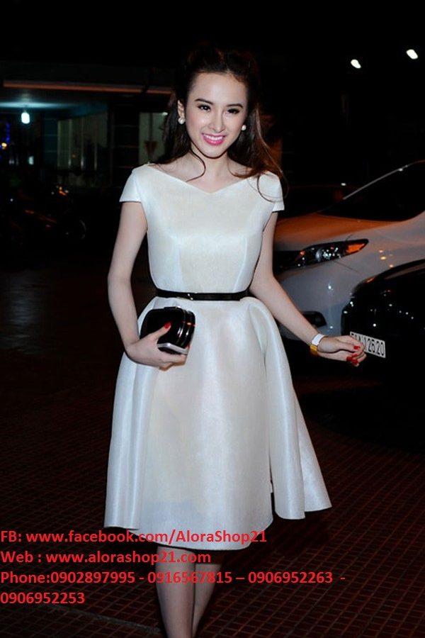 Đầm xòe trắng tiểu thư nhẹ nhàng như Phương Trinh – DN304