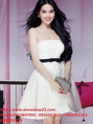 Đầm ống cúp ngực màu trắng nơ đen trẻ trung như Ngọc Trinh - DN305