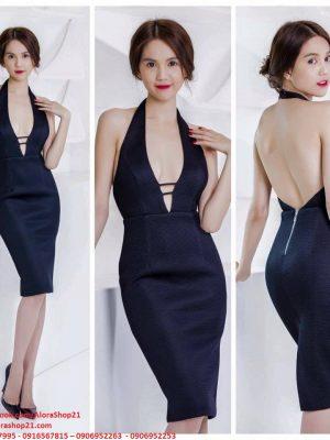 Đầm body Ngọc Trinh cổ yếm khoét ngực sâu - DN30