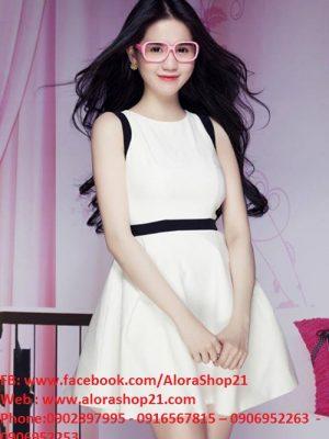 Đầm xòe sát nách trắng phối đen thời trang như Ngọc Trinh - DN310