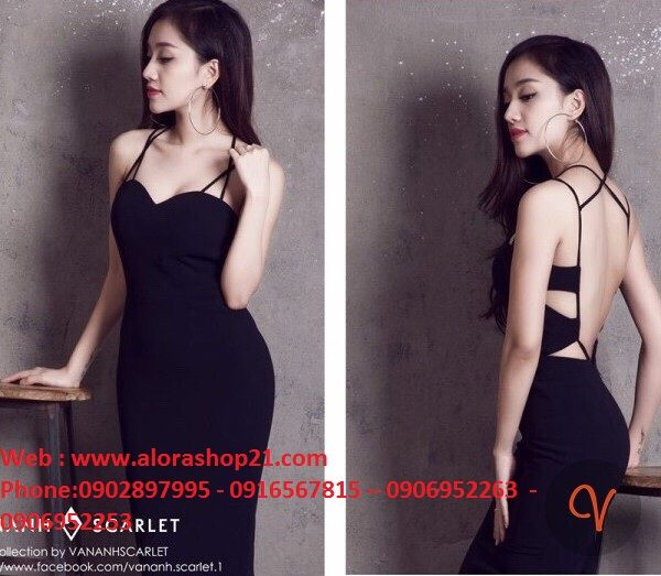 Đầm đen hở lưng ôm body thiết kế dáng bút chì dài – DN312